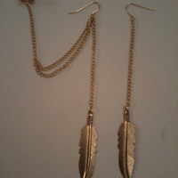SALE- Bohemian Hippie Gold Feather Chain Earrings with Ear Cuff