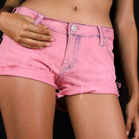 Denim Shorts - Pink Denim Shorts - Cut Off Denim Shorts - Distressed Denim Shorts