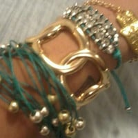 Bohemian Hippie Layered Bracelet with Gold and Silver Beads