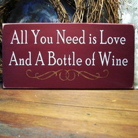 Love and Wine Wall Sign Wood Painted Wine Lover Plaque Burgundy
