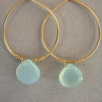 Aqua Chalcedony On Gold Filled Hoop.. on Luulla