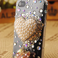 iPhone4 Hearts Pearl Shell Cover Christmas Gift