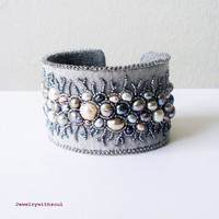Bead embroidery cuff bracelet with freshwater pearls in grey, silver, peacock, mauve and cream white - Grey lace