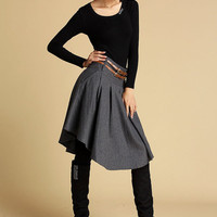 gray wool mini skirt (359)