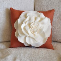 Throw Pillow Ivory Rose on Pumpkin Orange Pillow 14 x by bedbuggs