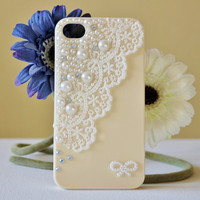 Ivory Lace Pearl Rhinestone iPhone 4 4s Case,Ivoy iPhone Case, iPhone 4 4s Hard Case