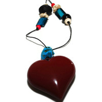 Maroon heart and turquoise day of the dead skull asymmetrical ooak necklace,upcycled heart pendant and skull necklace