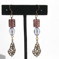 "Purple Beaded Earrings, ""Antique"" Beaded Earrings, Victorian Beaded Earrings"