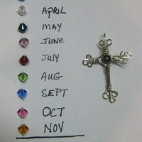 Birthstone Cross, YOUR BD stone, Pendant, Wire wrapped .925 Sterling Silver Swarovski Crystals  Customized  Cross
