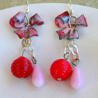 Lampwork Enameled Copper Earrings Christmas Fashion Holiday Celebration