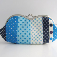 Frame Sunglasses Case/ Eyeglass Pouch/ Clutch Purse -blue polka dots