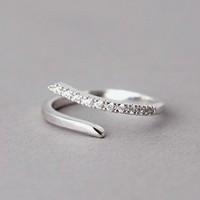 CZ CURVED BYPASS RING WHITE GOLD PLATED SLIPS ON COSTUME JEWELRY by Kellinsilver.com - Fashion Jewelry Online as ETSY