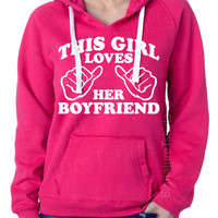 This Girl Loves Her Boyfriend Ladies Womens Brushed V-Neck Hooded Sweatshirt Hoodie SuperSoft S,M,L,XL,2XL