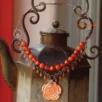 Rose Pendant Copper Necklace