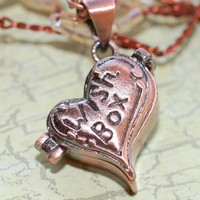Locket  Necklace  Wishes Heart Antique Red Copper,  Perfect Birthday Gift Sale