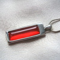 Red and silver vintage pendant, necklace