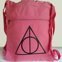 Harry Potter Backpack Pink Deathly Hallows Canvas Drawstring Book Bag