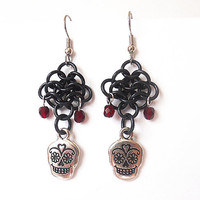 Sugar skull earrings, Dia de los Muertos, Red and black, Day of the Dead, Chainmaille