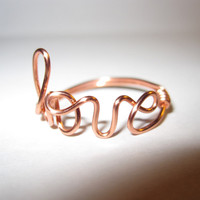 Copper Love Ring Wire Wrapped Delicate Dainty Ring Unique Gifts