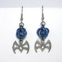 Batman earrings, Gothic, Chainmaille, Blue, black, and silver