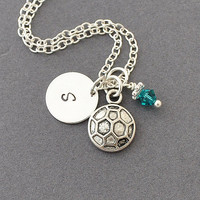 Soccer Necklace, Birthstone Initial Necklace, Monogram, Soccer ball charm, soccer charm, Sports Jewelry,soccer team, personalized jewelry