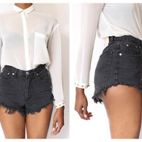 Faded Black Cut Off Daisy Duke's High Waist Shorts M