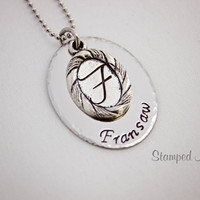 Family Name - Hand Stamped Necklace - Customized with Your Last Name - Stainless Steel and Tibetan Silver