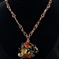 Hand Sculptured Copper Chain Necklace with Fall Colored Flower Pendant