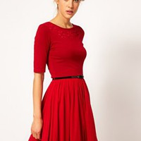 ASOS Skater Dress With Daisy Cutwork And Belt at asos.com