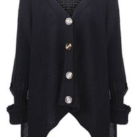 ROMWE | Rivet Shoulder Black Cardigan, The Latest Street Fashion