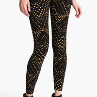 Lily White Stud Print Leggings (Juniors) | Nordstrom