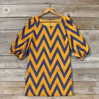 Falling for Chevrons Dress in Mustard, Sweet Women's Bohemian Clothing