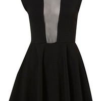 Petite Mesh Insert Skater Dress - Dresses - Going Out  - Collections