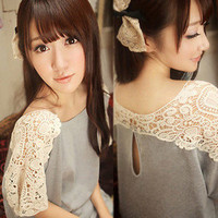 New Japanese Korean Pretty Ladies Girl Lace Crochet Sweet Hot Top Blouse Shirt