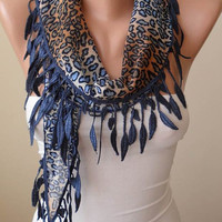 New- Gift -  Dark Blue - Brown Leopard Scarf with Dark Blue Trim Edge