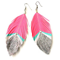 Bowie  -  Pink Neon and Silver Glitter with Swarovski Crystal - Faux Leather Feather Earrings - Surgical Steel