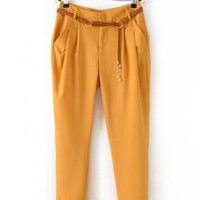 Colored Slim Fit Harem Trousers Yellow - Designer Shoes|Bqueenshoes.com