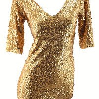 NWT Lined Gold Sequin Shimmer Stretch Bodycon Cocktail Short Dress Size S M L