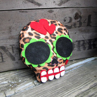 Plush Sugar Skull - Leopard and Hearts
