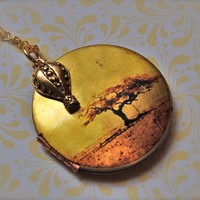 The Hot Air Balloon Charm and the Tree Locket  Vintage by verabel