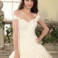 [$241.99 ] Gorgeous Satin&Tulle Ball Gown Off-the-shoulder Drop Waist Beaded Wedding Dress - Dressilyme.com