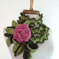 Palm Leaves lariat scarf with Rose brooch-Hand Crochet -Spring Fashion