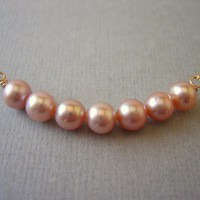 Row Of Pink Freshwater Pearls Neckl.. on Luulla