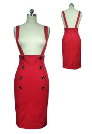 Red High-Waist Suspenders Pencil Skirt