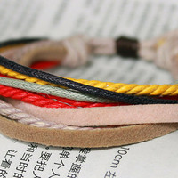 Simple style Christmas Warmth Style Friendship Handmade Lucky Colorful cotton rope Adjustable Bracelet 1-3