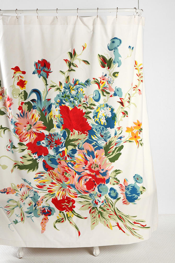 romantic floral scarf shower curtain from urban outfitters. Black Bedroom Furniture Sets. Home Design Ideas