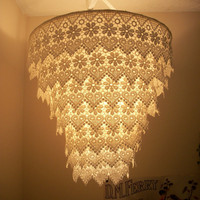 Venise Lace Faux Chandelier Pendant Lamp Shade &#x27;Ivory&#x27;