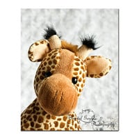 Stuffed Giraffe Nursery Decor Fine Art Photography Print 8x10 toddler bedroom art white golden brown pale yellow