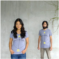 The Headhunter - womens tshirt - S/M/L/XL - neon yellow bow and arrow screenprint on heather gray track tees - womens fashion