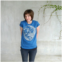 Womens organic cotton tshirt - L/XL - full moon screenprint on American Apparel galaxy blue - My Moon, My Man